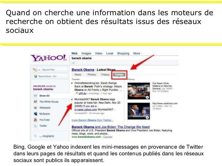 Quand on cherche une information dans les moteurs de recherche on obtient des résultats issus des réseaux sociaux Bing, Go...