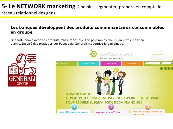 5- Le NETWORK marketing :  ne plus segmenter, prendre en compte le réseau relationnel des gens Les banques développent des...