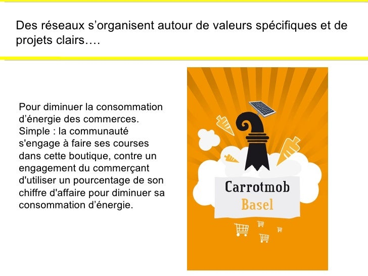Des réseaux s'organisent autour de valeurs spécifiques et de projets clairs…. Pour diminuer la consommation d'énergie des ...