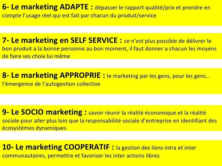 6- Le marketing ADAPTE :  dépasser le rapport qualité/prix et prendre en compte l'usage réel qui est fait par chacun du pr...