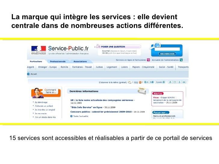15 services sont accessibles et réalisables a partir de ce portail de services La marque qui intègre les services : elle d...