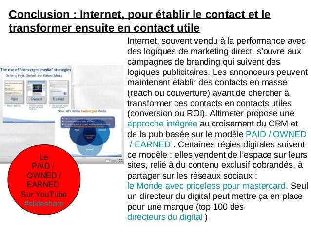 Conclusion : Internet, pour établir le contact et letransformer ensuite en contact utileLePAID /OWNED /EARNEDSur YouTube#s...