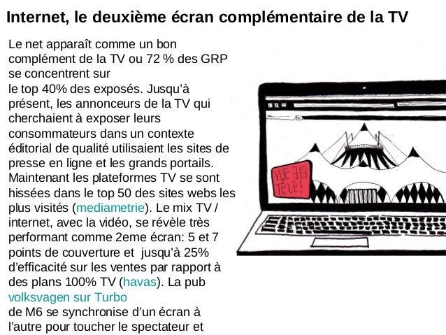 Le net apparaît comme un boncomplément de la TV ou 72 % des GRPse concentrent surle top 40% des exposés. Jusqu'àprésent, l...