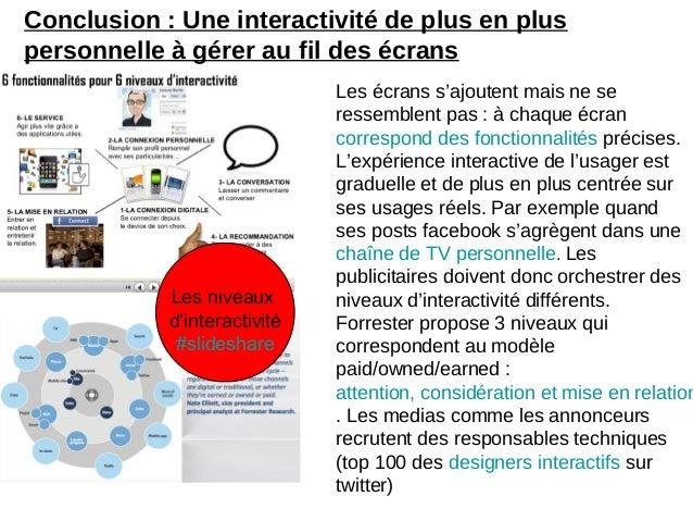 Conclusion : Une interactivité de plus en pluspersonnelle à gérer au fil des écransLes écrans s'ajoutent mais ne seressemb...