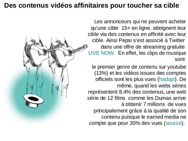 Des contenus vidéos affinitaires pour toucher sa cibleLes annonceurs qui ne peuvent acheterqu'une cible 15+ en ligne, atte...