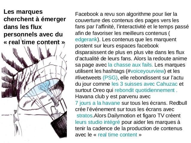 Les marquescherchent à émergerdans les fluxpersonnels avec du« real time content »Facebook a revu son algorithme pour lier...
