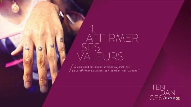 1.  AFFIRMER  SES  VALEURS  Quels sont les codes utilisés aujourd'hui  pour affirmer sa vision, son combat, ses valeurs ?