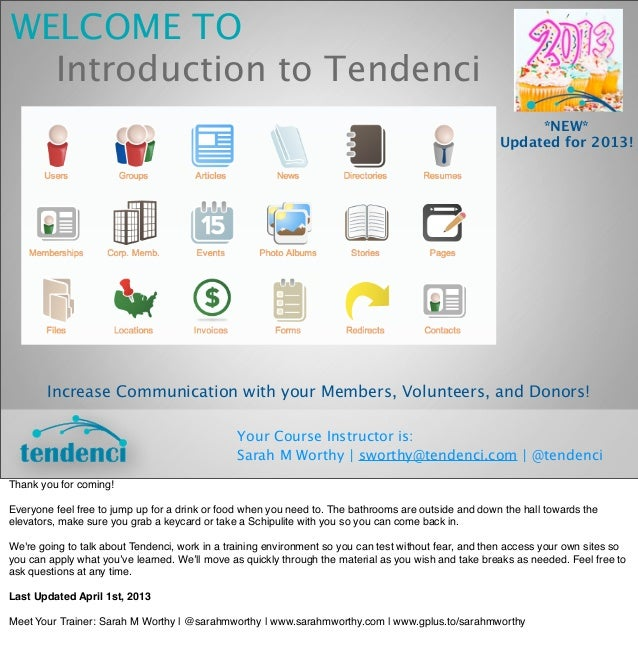 WELCOME TO  Introduction to Tendenci                                                                                      ...