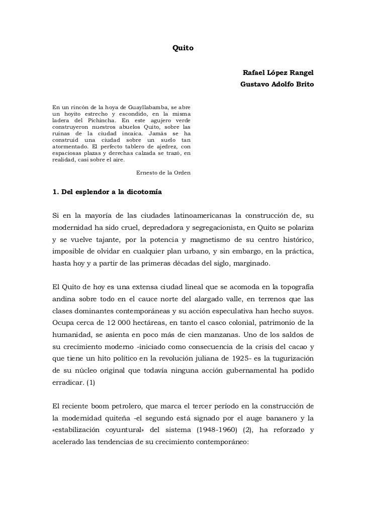 Quito<br />Rafael López Rangel<br />Gustavo Adolfo Brito<br />En un rincón de la hoya de Guayllabamba, se abre un hoyito e...