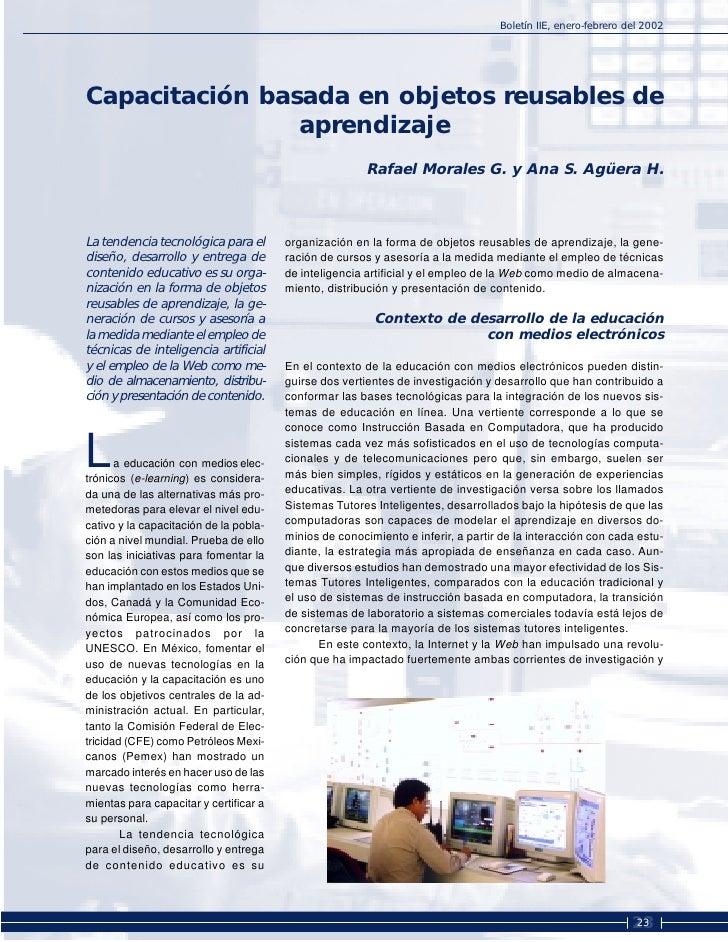 Boletín IIE, enero-febrero del 2002     Capacitación basada en objetos reusables de                 aprendizaje           ...