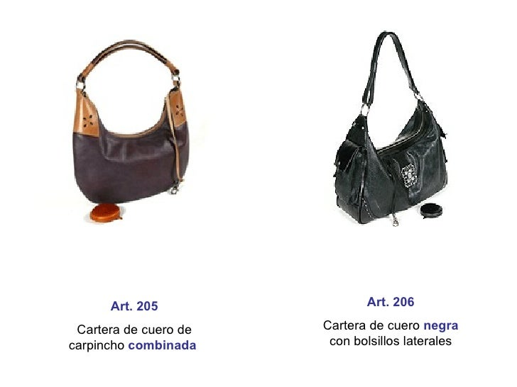 Art. 205 Cartera de cuero de carpincho  combinada   Art. 206 Cartera de cuero   negra  con bolsillos laterales