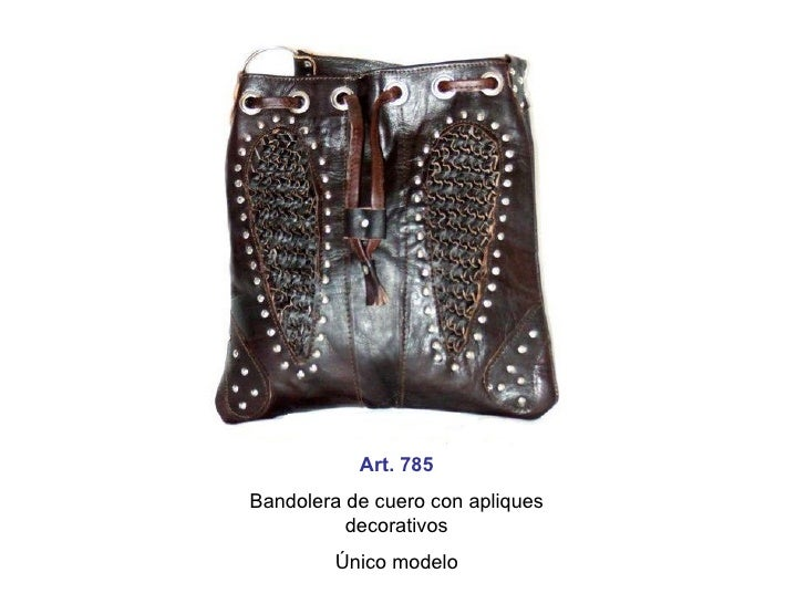 Art. 785 Bandolera de cuero con apliques decorativos Único modelo