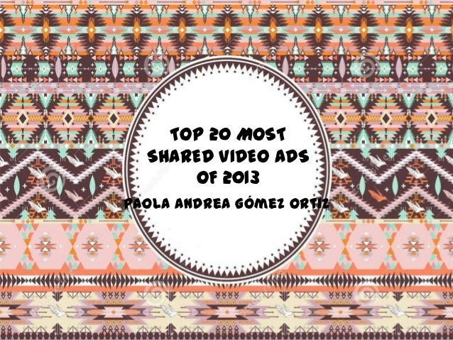 TOP 20 MOST SHARED VIDEO ADS OF 2013 Paola Andrea Gómez Ortiz
