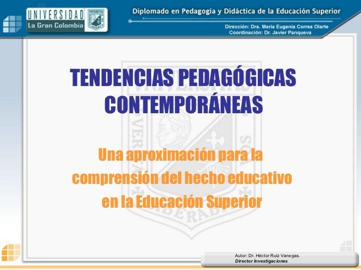 TENDENCIAS PEDAGÓGICAS CONTEMPORÁNEAS Una aproximación para la  comprensión del hecho educativo en la Educación Superior