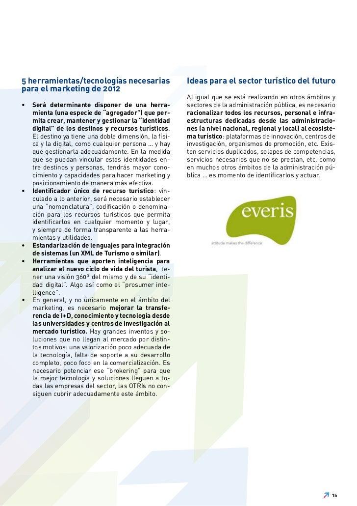 5 herramientas/tecnologías necesarias                   Ideas para el sector turístico del futuropara el marketing de 2012...