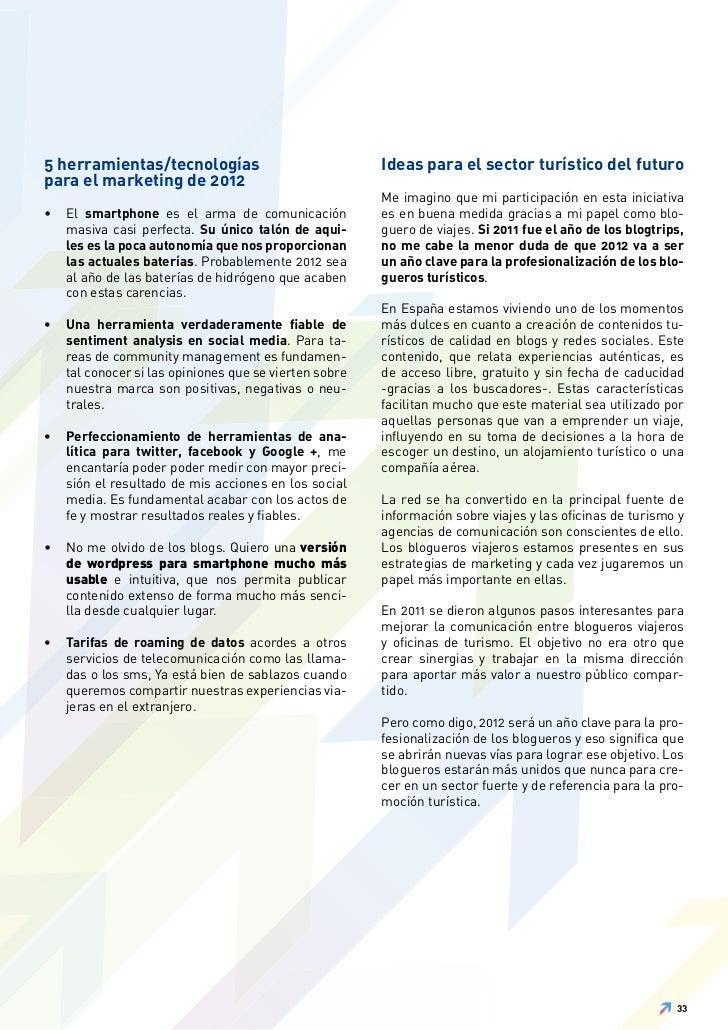 5 herramientas/tecnologías                              Ideas para el sector turístico del futuropara el marketing de 2012...