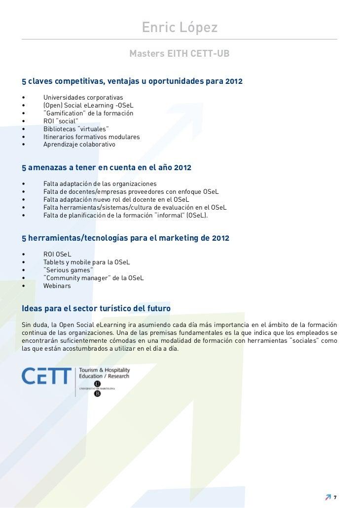 Enric López                                   Masters EITH CETT-UB5 claves competitivas, ventajas u oportunidades para 201...