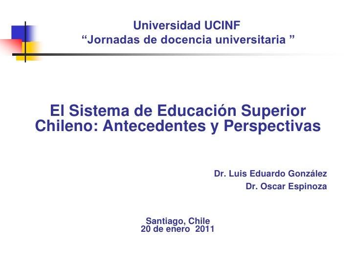 """Universidad UCINF""""Jornadas de docencia universitaria """"<br />El Sistema de Educación Superior Chileno: Antecedentes y Persp..."""