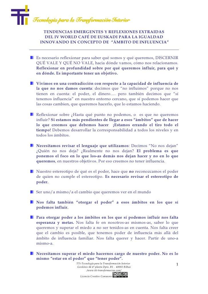 """TENDENCIAS EMERGENTES Y REFLEXIONES EXTRAIDAS    DEL IV WORLD CAFÉ DE EUSKADI PARA LA IGUALDAD  INNOVANDO EN CONCEPTO DE """"..."""