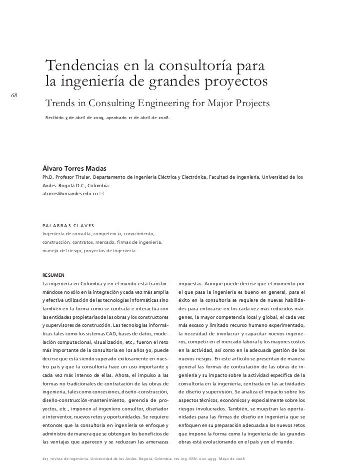 Tendencias en la consultoría para      la ingeniería de grandes proyectos68      Trends in Consulting Engineering for Majo...