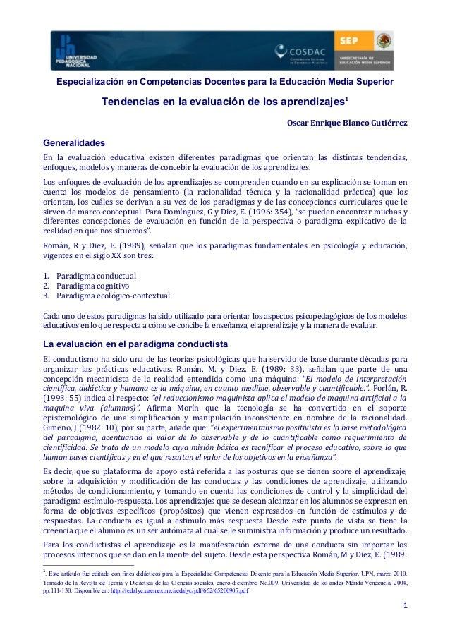 Especialización en Competencias Docentes para la Educación Media Superior Tendencias en la evaluación de los aprendizajes1...