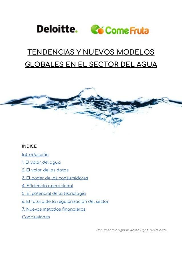 TENDENCIAS Y NUEVOS MODELOS GLOBALES EN EL SECTOR DEL AGUA  ÍNDICE Introducción 1. El valor del agua 2. El valor de...