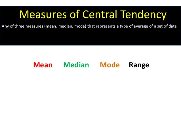 Mean Median Mode Range Measures of Central Tendency Any of three measures (mean, median, mode) that represents a type of a...