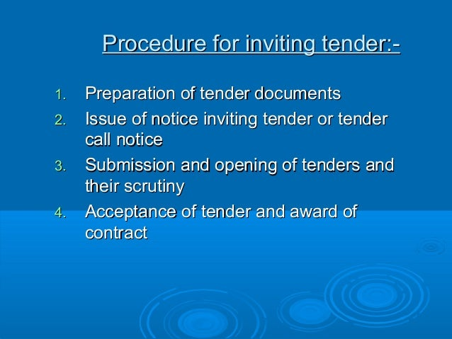 Tender 5 procedure for inviting tender 1 stopboris Choice Image