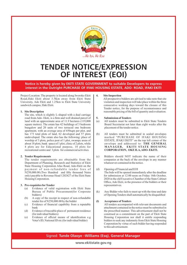 Tender Notice/Expression of Interest (EOI)