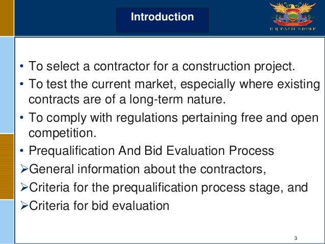 Tender & bidding in construction projects