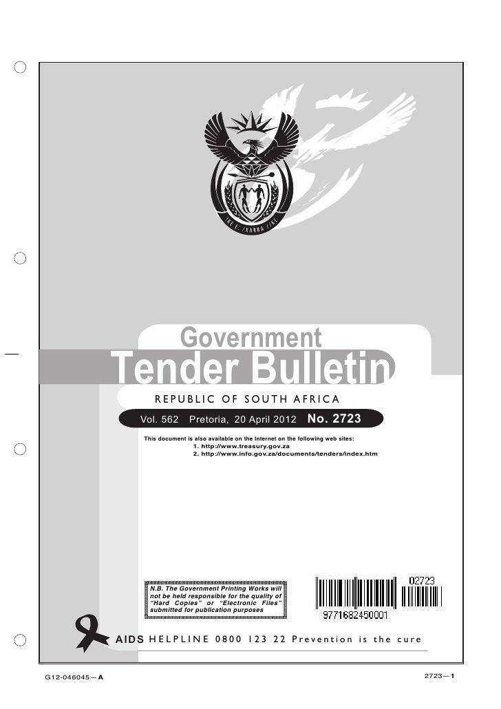 Government               Tender Bulletin                        R E P U B L I C O F SSOUTH A F R I C A                    ...