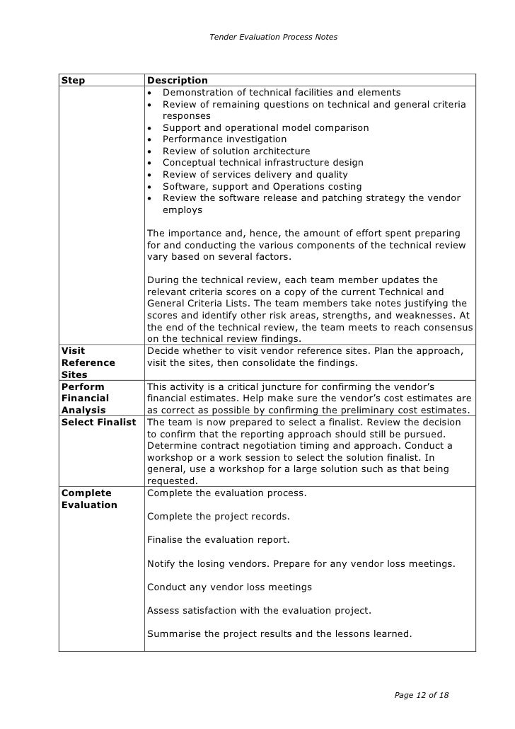 Tender evaluation report template