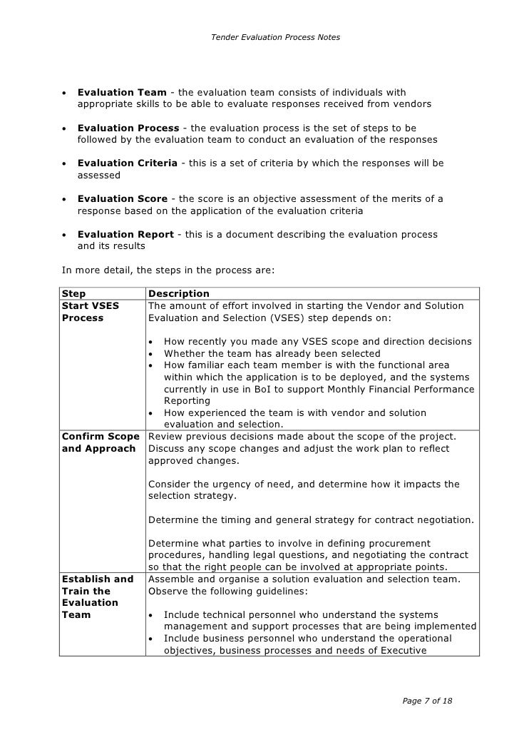 tender evaluation A tender is a submission made by a prospective supplier in response to an  invitation to tender it makes an offer for the supply of goods or.