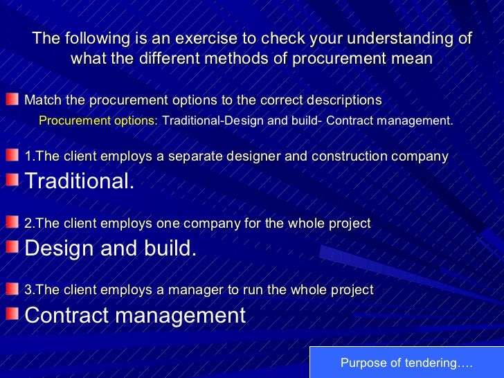 The following is an exercise to check your understanding of what the different methods of procurement mean <ul><li>Match t...