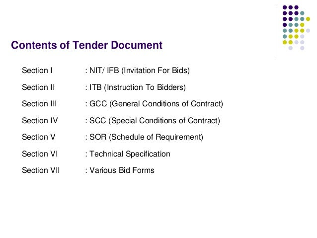 Contents of Tender Document Section I : NIT/ IFB (Invitation For Bids) Section II : ITB (Instruction To Bidders) Section I...