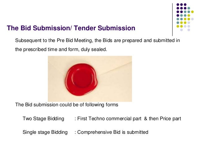 The Bid Submission/ Tender Submission Subsequent to the Pre Bid Meeting, the Bids are prepared and submitted in the prescr...