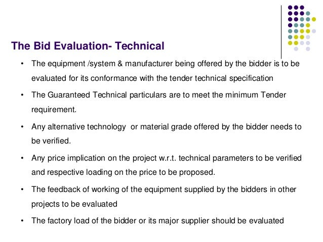 Tendering Process, Bid Evaluation & Award Process