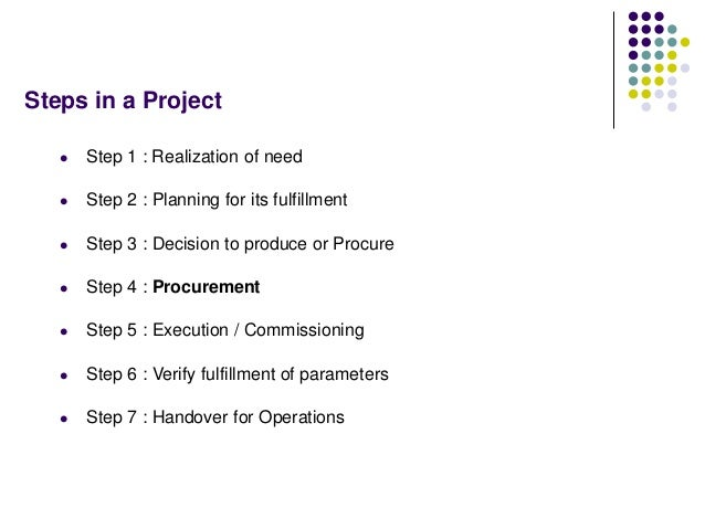 Steps in a Project  Step 1 : Realization of need  Step 2 : Planning for its fulfillment  Step 3 : Decision to produce o...