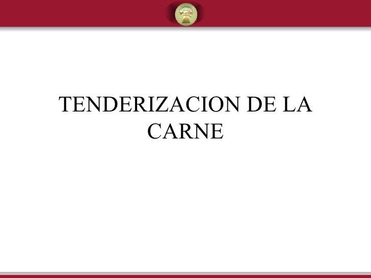TENDERIZACION DE LA CARNE