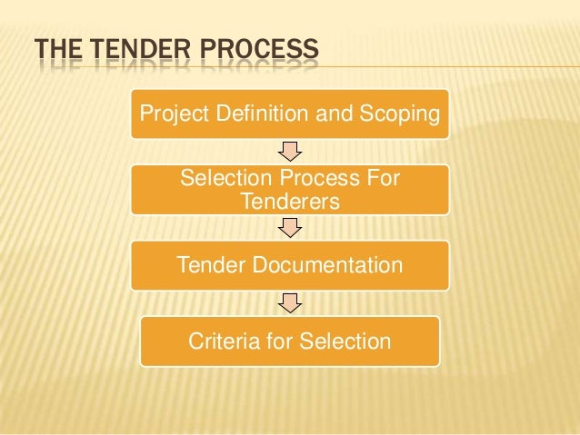 THE TENDER PROCESS Project Definition and Scoping Selection Process For Tenderers Tender Documentation Criteria for Select...