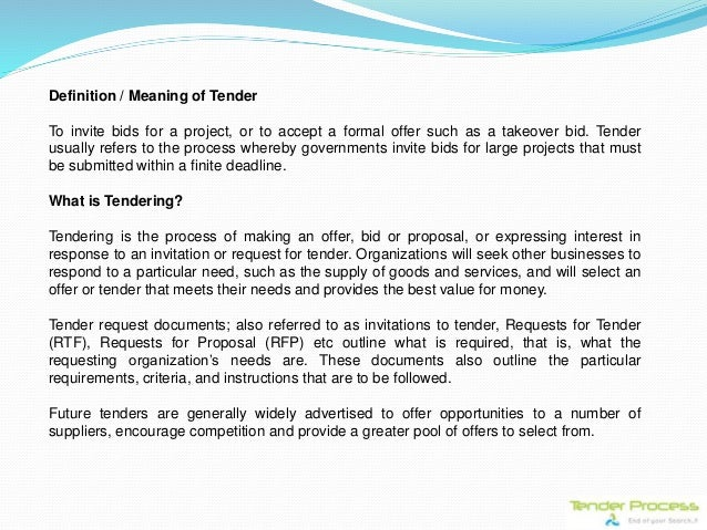 Tender process a complete procurement guide definition meaning of tender to invite stopboris Gallery