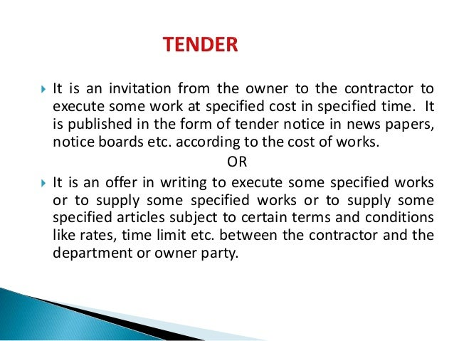Tenders contract arti it is an invitation from the owner to the contractor to execute some work at stopboris Images