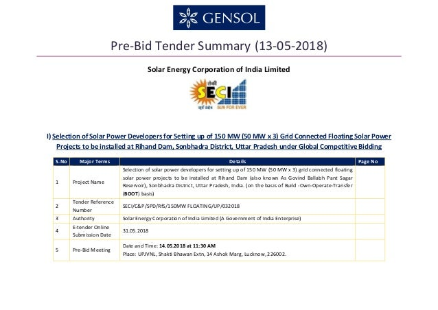 Pre-Bid Tender Summary (13-05-2018) Solar Energy Corporation of India Limited I) Selection of Solar Power Developers for S...