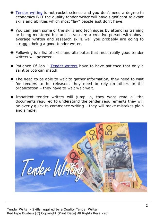 Tender writing services sydney