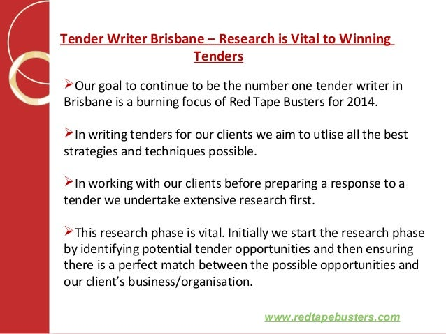 Tender writer brisbane
