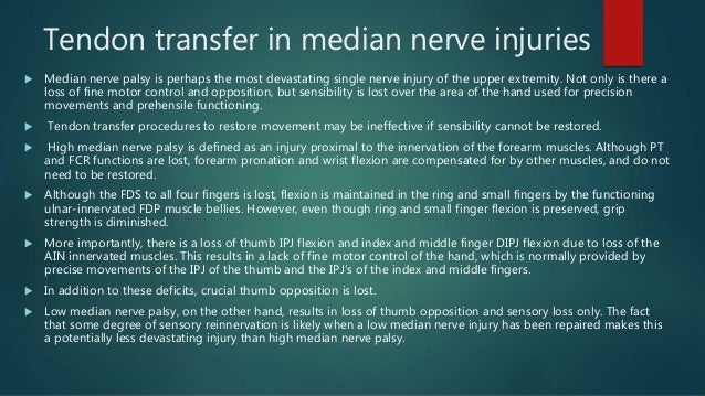 Median Nerve Palsy And Tendon Transfers