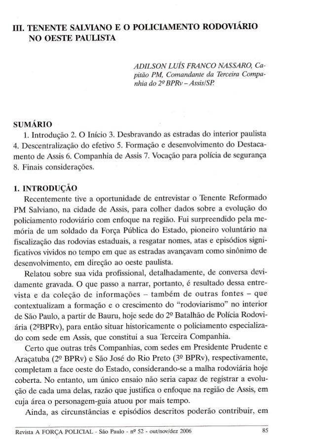 Artigo - Tenente Salviano e o Policiamento Rodoviário no Oeste Paulista