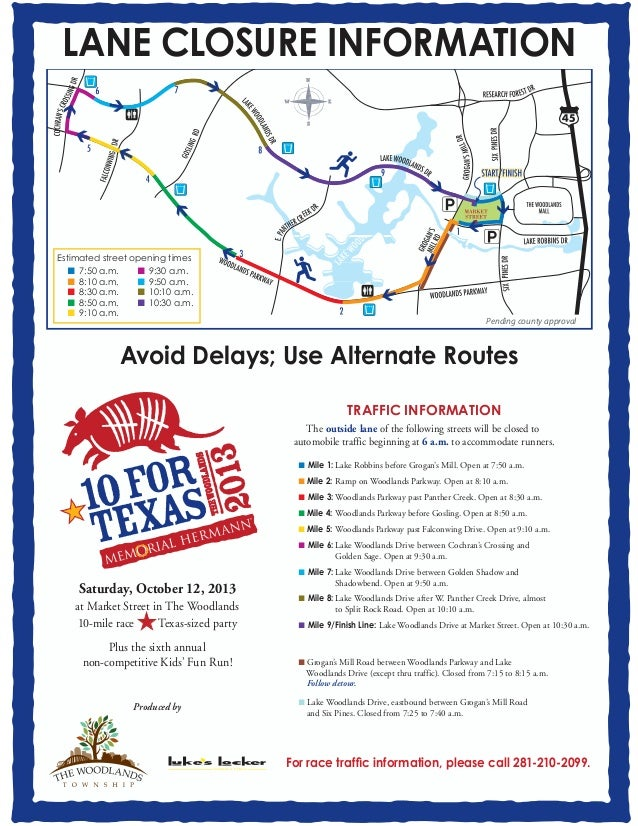 Ten For Texas Map And Road Closures