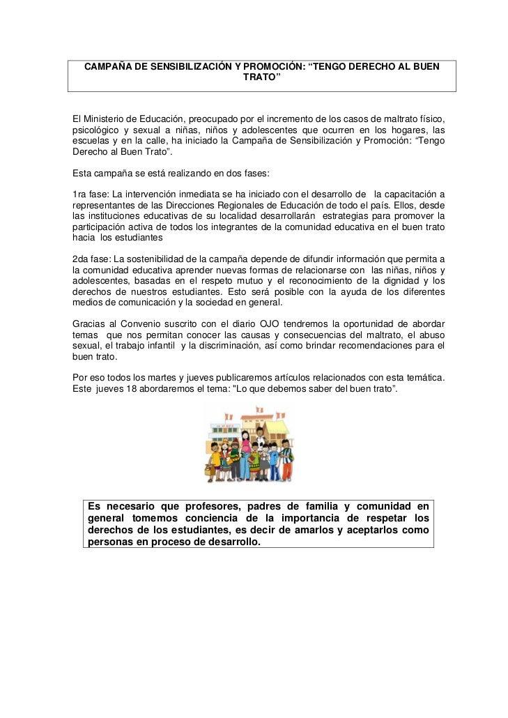 """CAMPAÑA DE SENSIBILIZACIÓN Y PROMOCIÓN: """"TENGO DERECHO AL BUEN                                TRATO""""    El Ministerio de E..."""