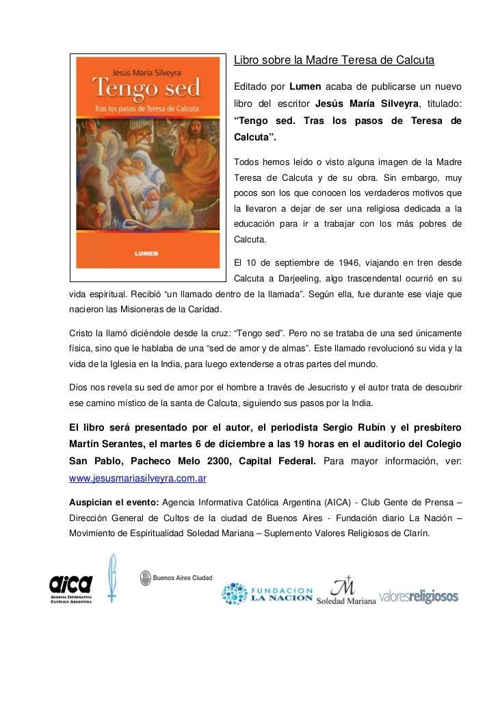 Libro sobre la Madre Teresa de Calcuta                                          Editado por Lumen acaba de publicarse un n...